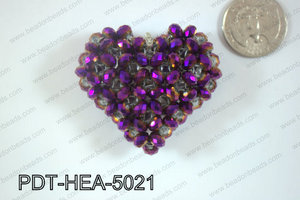 Angelic Crystal Heart Pendant 6mm Rondels 45x50mm Purple metalli