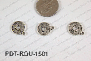 Coin Pendant Silver 15mm PDT-ROU-1501