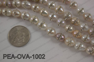 Freshwater pearl with cubic zirconia stones 10x12mmPEA-OVA-1002