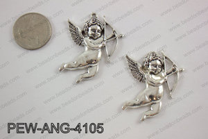 Pewter angel Pendant silver 35x41mmPEW-ANG-4105