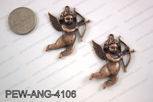 Pewter angel pendant copper 35x41mmPEW-ANG-4106