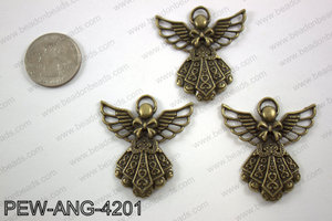 Pewter angel pendant bronze 39x42mmPEW-ANG-4201