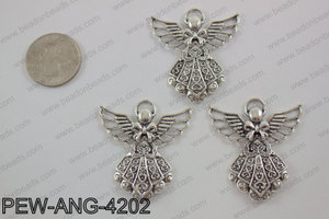 Pewter angel Pendant silver 39x42mmPEW-ANG-4202