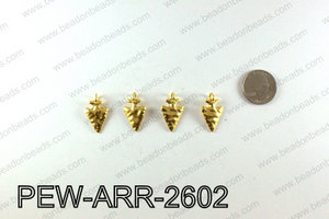 Pewter Arrow charms 26x15mm, Gold PEW-ARR-2602