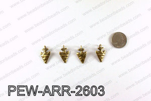 Pewter Arrow charms 26x15mm, Bronze PEW-ARR-2603