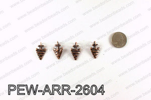 Pewter Arrow charms 26x15mm, Copper PEW-ARR-2604
