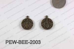 PEWTER CHARM BEE 20MM BRONZE PEW-BEE-2003