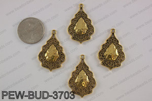 Pewter charm 24x38 mm, gold PEW-BUD-3703