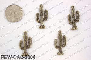 Pewter cactus charm 15x30mm, brassPEW-CAC-3004