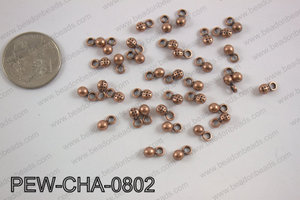 Pewter charm 4x8mm, copper PEW-CHA-0802