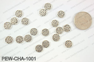 Pewter coin charms 10mm, silver PEW-CHA-1001