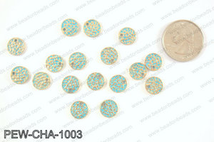 Pewter coin charms 10mm, patina PEW-CHA-1003