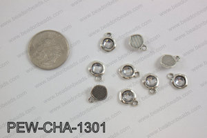Pewter clear acrylic charm, silver PEW-CHA-1301