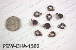 Pewter clear acrylic charm, copper PEW-CHA-1303
