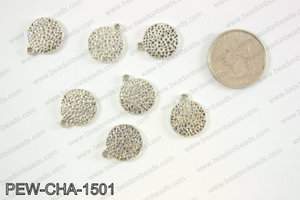Pewter coin charms 15mm, silver PEW-CHA-1501
