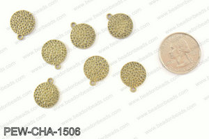 Pewter coin charms 15mm, bronze PEW-CHA-1506