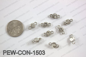 Pewter crystal connector 7x15mm, silver PEW-CON-1503
