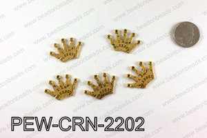 IAM BLESSED Crown Charms 22x32mm, Gold PEW-CRN-2202