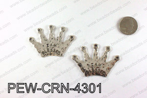 IAM BLESSED Crown Pendants 43x60mm, Silver PEW-CRN-4301
