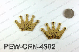 IAM BLESSED Crown Pendants 43x60mm, Gold PEW-CRN-4302