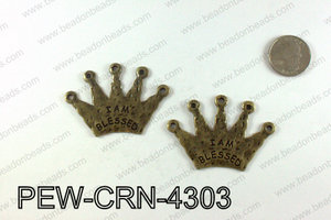 IAM BLESSED Crown Pendants 43x60mm, Bronze PEW-CRN-4303