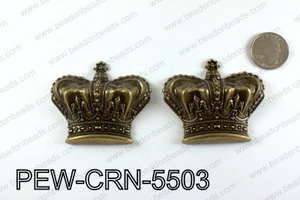 Pewter puff crowns 55x63mm, Bronze PEW-CRN-5503