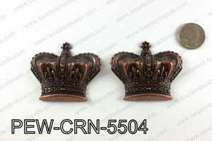 Pewter puff crowns 55x63mm, Copper PEW-CRN-5504