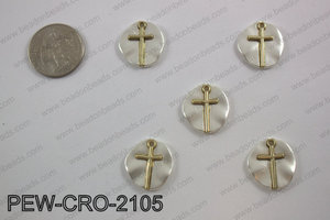 Coin cross charms 20x20mm, matte silver PEW-CRO-2105