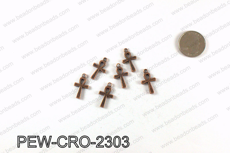 ANKH cross charms 23x13mm, Copper PEW-CRO-2303