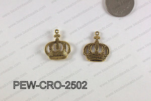 Pewter Crown Charm 20x25mm  gold PEW-CRO-2502