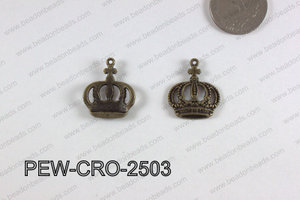 Pewter Crown Charm 20x25mm  bronze PEW-CRO-2503
