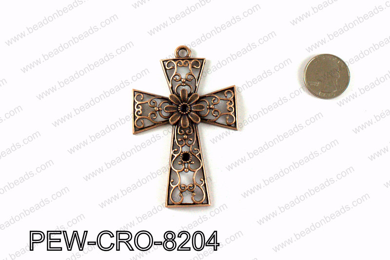 Pewter cross pendant 82x54mm, Copper PEW-CRO-8204