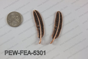 Pewter feather 12x53mm, copper PEW-FEA-5301