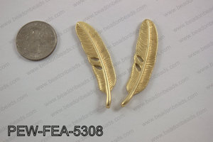 Pewter feather 12x53mm matte gold PEW-FEA-5308