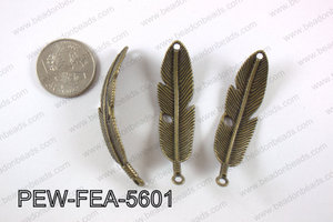 Pewter feather bar connector 15x56mm, brass PEW-FEA-5601