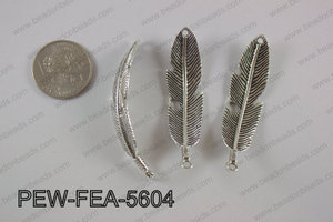 Pewter feather bar connector 15x56mm, silver PEW-FEA-5604