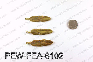 Pewter feather 61x15mm, Gold PEW-FEA-6102