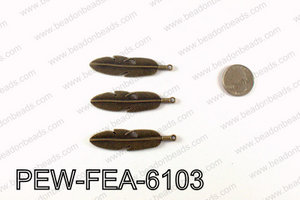 Pewter feather 61x15mm, Bronze PEW-FEA-6103