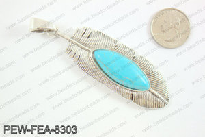 Feather pendant with howlite 80x26mm, Silver PEW-FEA-8303