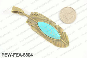 Feather pendant with howlite 80x26mm, Bronze PEW-FEA-8304