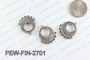 Pewter earring component, Silver 24x27mm PEW-FIN-2701