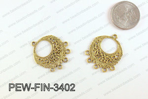 Pewter Earring component, gold 26x34mm PEW-FIN-3402