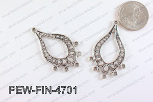 Pewter Earring component Silver 28x47mm PEW-FIN-4701