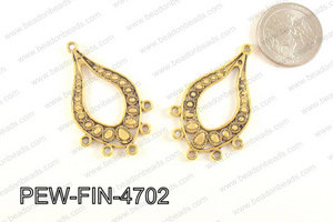 Pewter Earring component, Gold 28x47mm PEW-FIN-4702