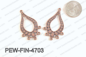 Pewter Earring component, copper 28x47mm PEW-FIN-4703