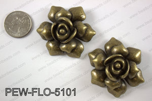 Pewter flower pendant 45x50 mm, brass PEW-FLO-5101