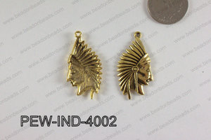 Pewter Indian Head Charm 20x40mm  Gold PEW-IND-4002