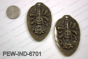 Pewter indian head pendant 67x42mm, brozne PEW-IND-6701