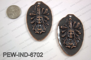 Pewter indian head pendant 67x42mm, copper PEW-IND-6702