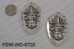 Pewter indian head pendant 67x42mm, silver PEW-IND-6703
